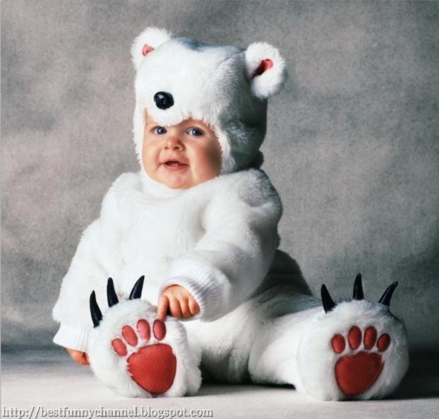 Baby white teddy bear.