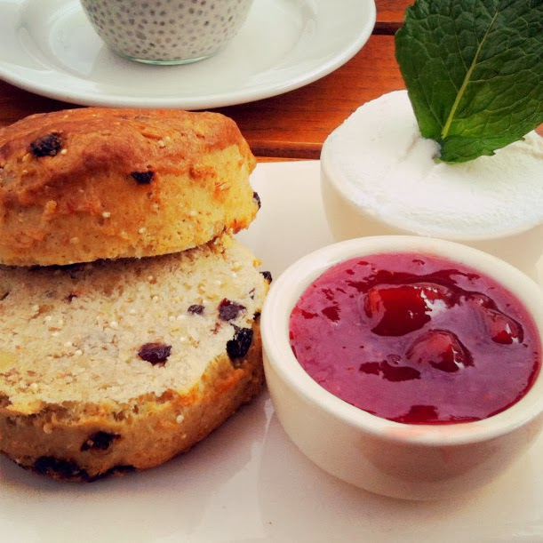 Spelt and Quinoa Scone served with Strawberry Rhubarb Jam and Ricotta - Le Pain Quotidien, London
