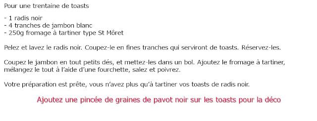 image recette Toasts de radis noir au jambon blanc et St Môret