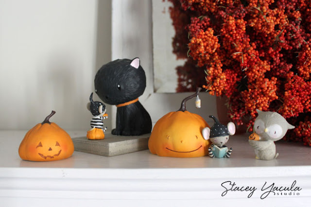 pumpkin, Halloween, owl, cat, mouse, jack-o-lantern