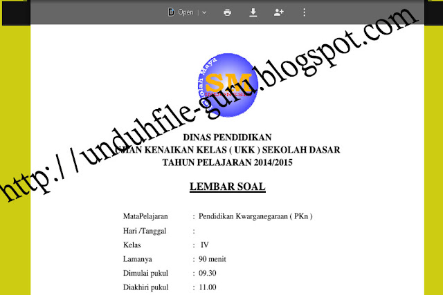Unduh File Kumpulan Soal-soal Kelas IV Sekolah Dasar ( SD )