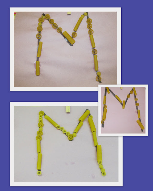 photo of: Letter recognition, letters and sensory presentation, M is for Macaroni