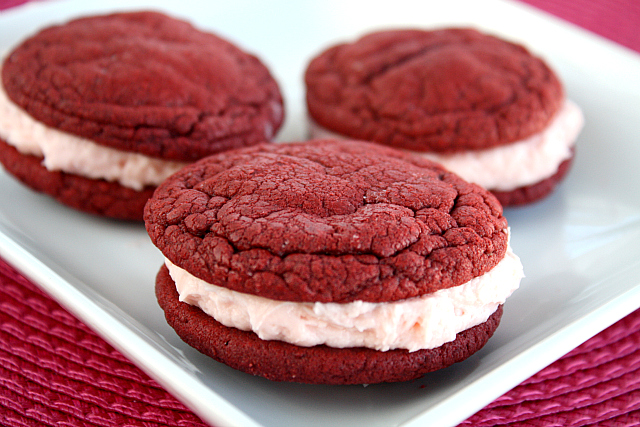Red Velvet Whoopie Pies with Cherry Cream Filling