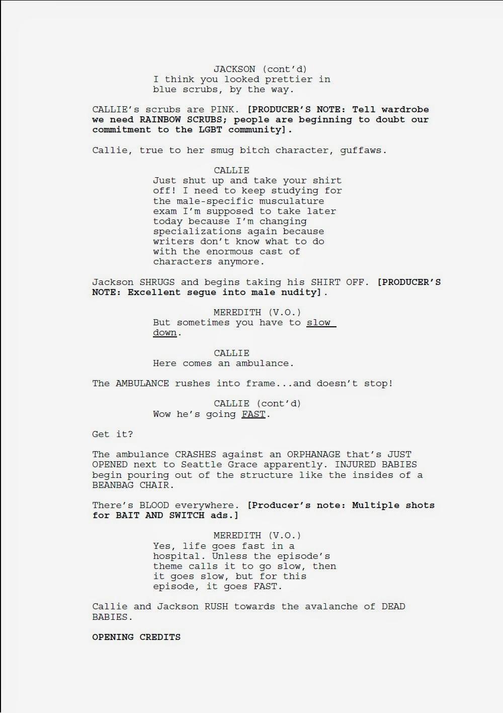 sample tv episode script grey s anatomy wolf in a gorilla suit