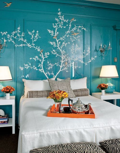 Ideas for bedrooms turquoise with white tree for Turquoise wallpaper for bedroom