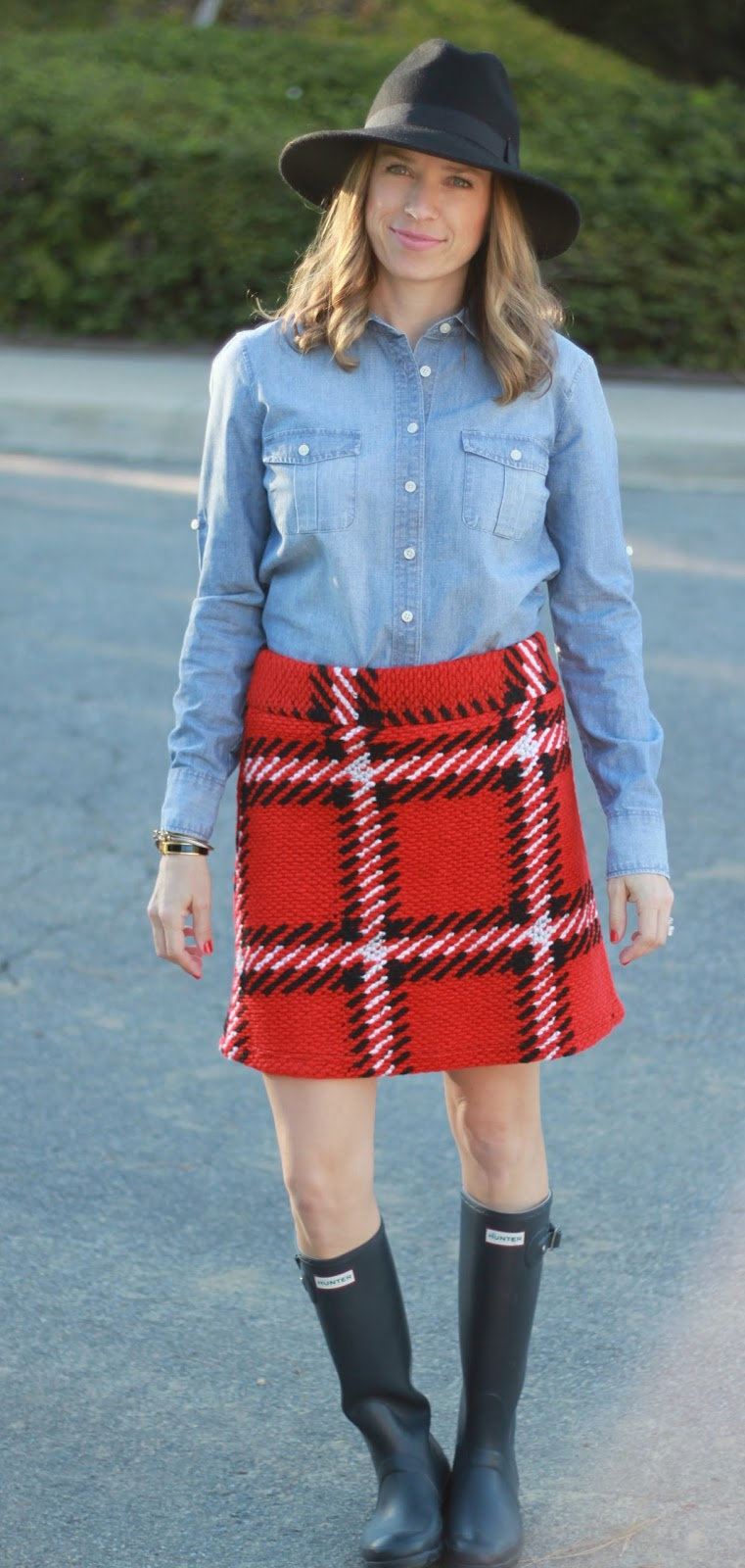 oversized plaid mini skirt