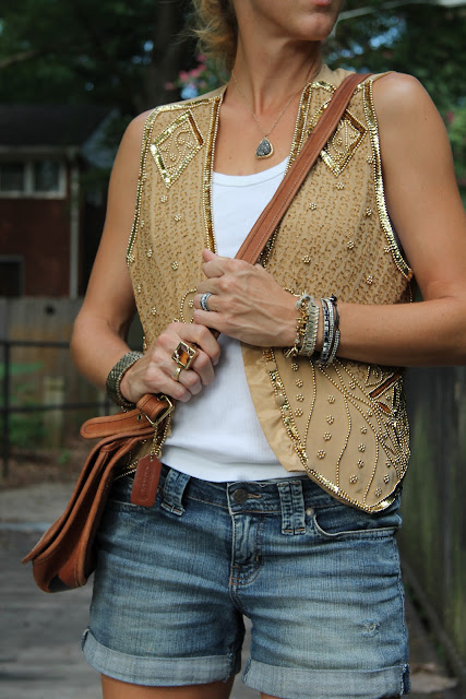 Beaded Vest c/o Cigi Guz, Jessica Simpson Jean Shorts, Favorite Gap Ribbed Tank, Coach Crossbody bag, Melinda Maria Ring, KK Bloom Necklace, Loft Sandals, Tiffany Ring, Diamonds Direct Ring, Ray-Ban Sunglasses, Stella & Dot and J. Crew Bracelets