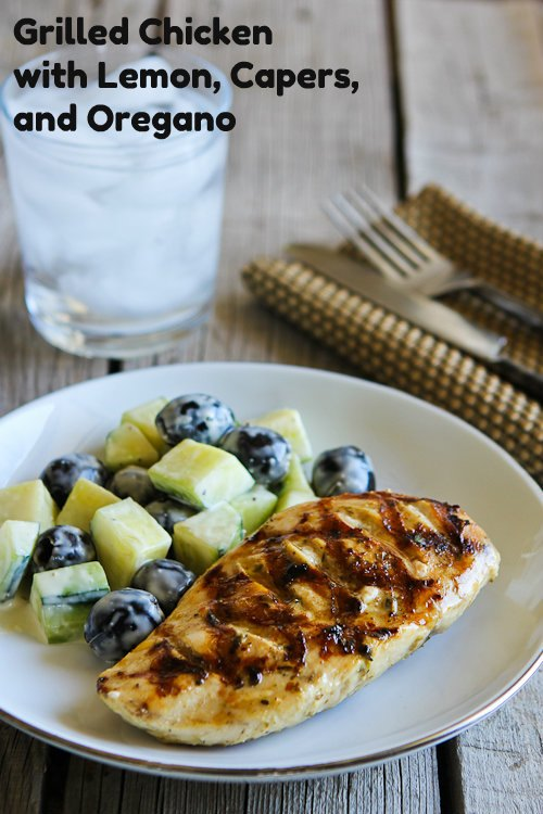 Grilled Chicken with Lemon, Capers, and Oregano from KalynsKitchen.com