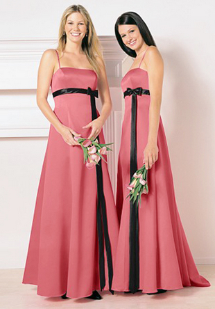 Chiffon Dress on Bridesmaids Gowns  Salmon Pink With Black Sash