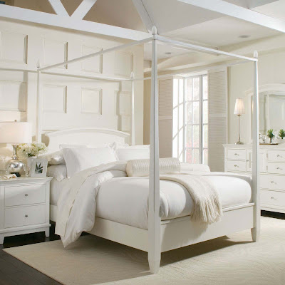 white canopy bed queen