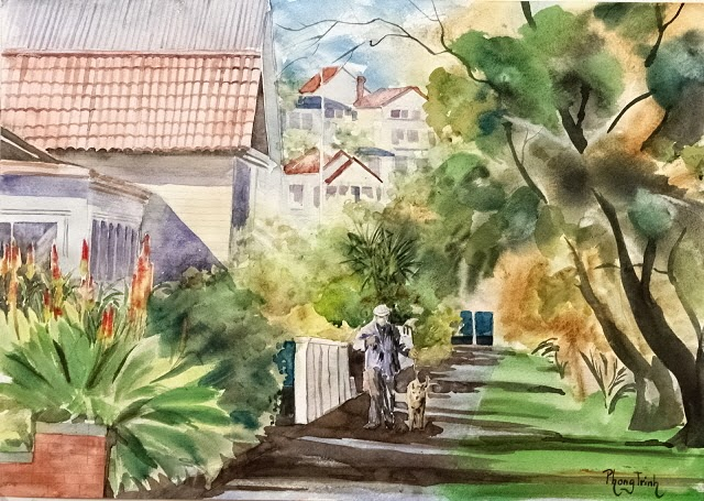 Wonderful Watercolor Outdoor Painting of  St Heliers, Seaside village, Auckland Reserve  29.5x42cm, Original SOLD