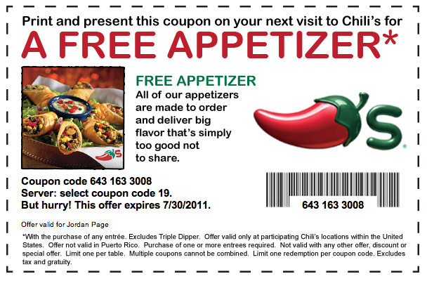 Chilis coupon code free appetizer
