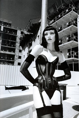 Photograph by Helmut Newton of a Thierry Mugler corset