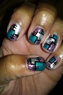 Patchwork, glitter, purple, teal, silver, nail art, mani