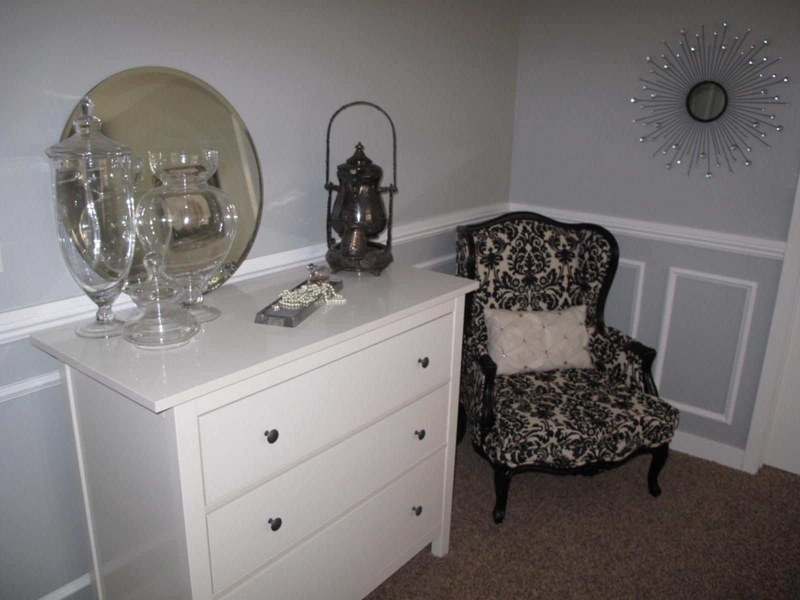 bedroom remodel for 539 including chair rail and picture frame