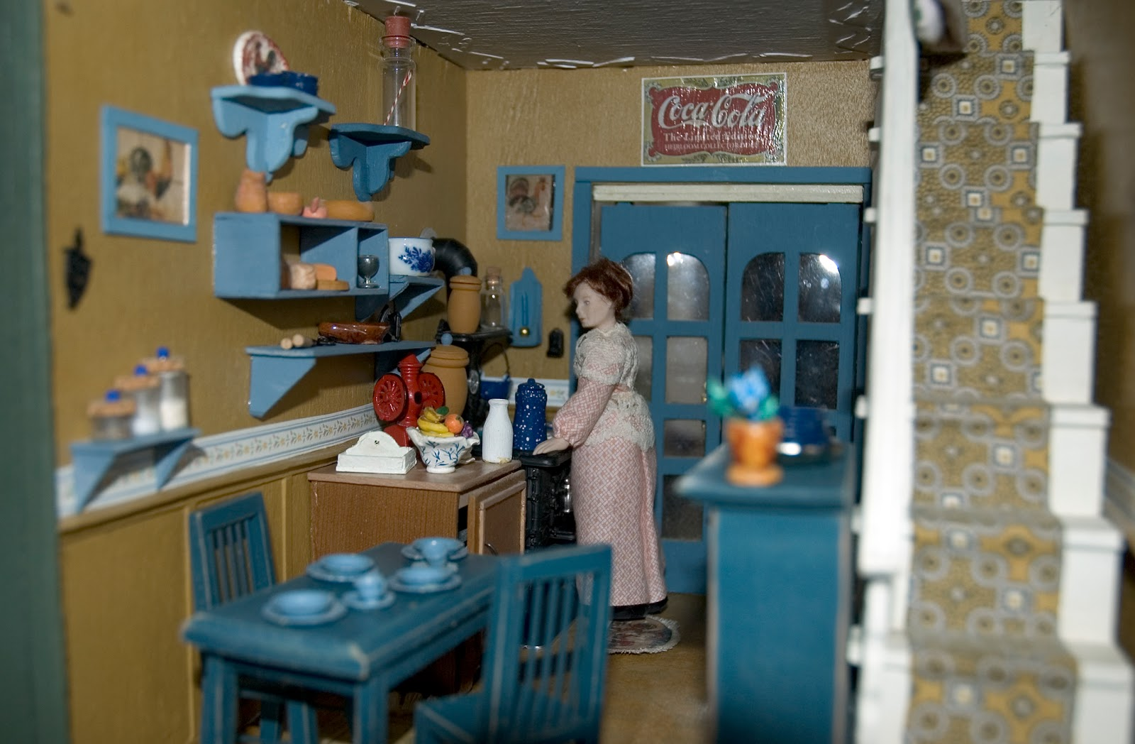 blue doll house
