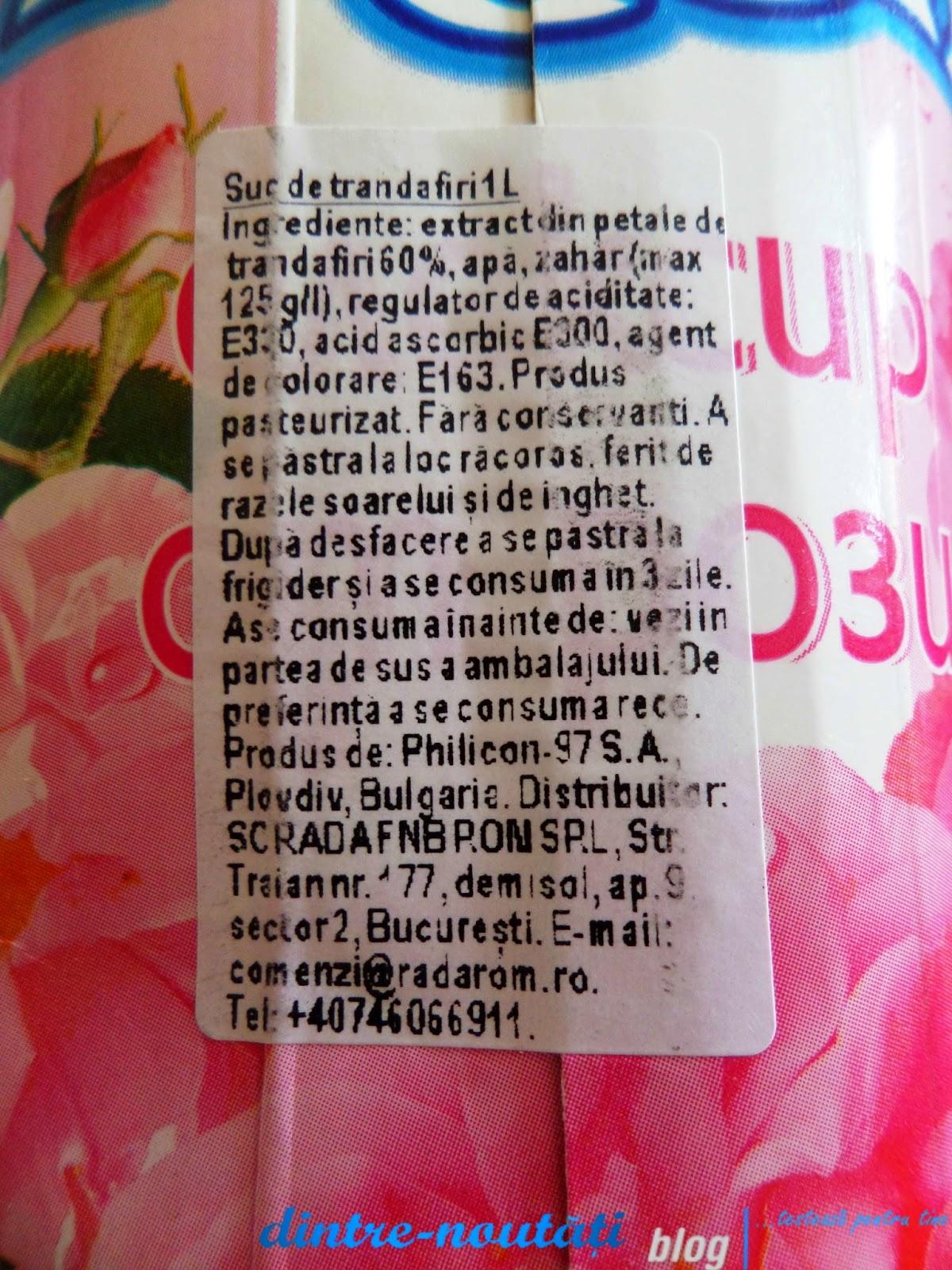 Suc necarbogazos fara acid de trandafiri produs în Bulgaria