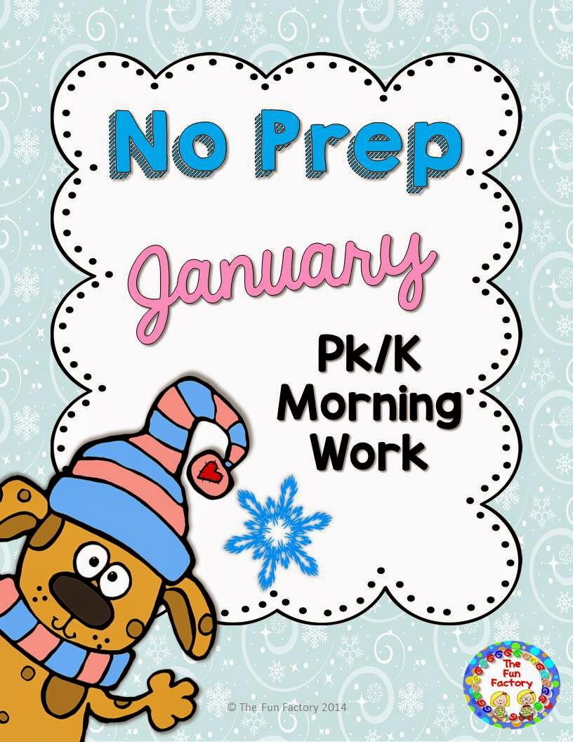 http://www.teacherspayteachers.com/Product/No-Prep-Morning-Work-PK-K-January-1602725