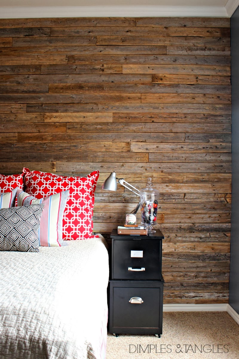 Interior Wall Wood Planks : Diy wood fence plank wall tutorial dimples and tangles