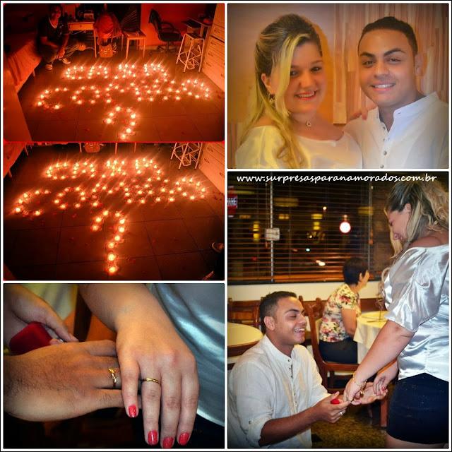 pedido de casamento com pétalas e velas