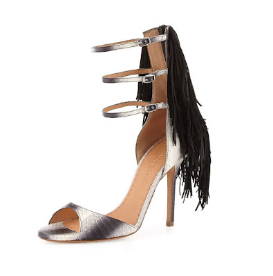 Alexa Wagner metallic peeptoe heels with black fringe detail at the back