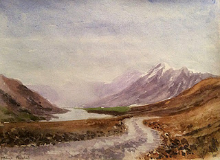 water colour painting of a landscape from Spiti by Manju Panchal