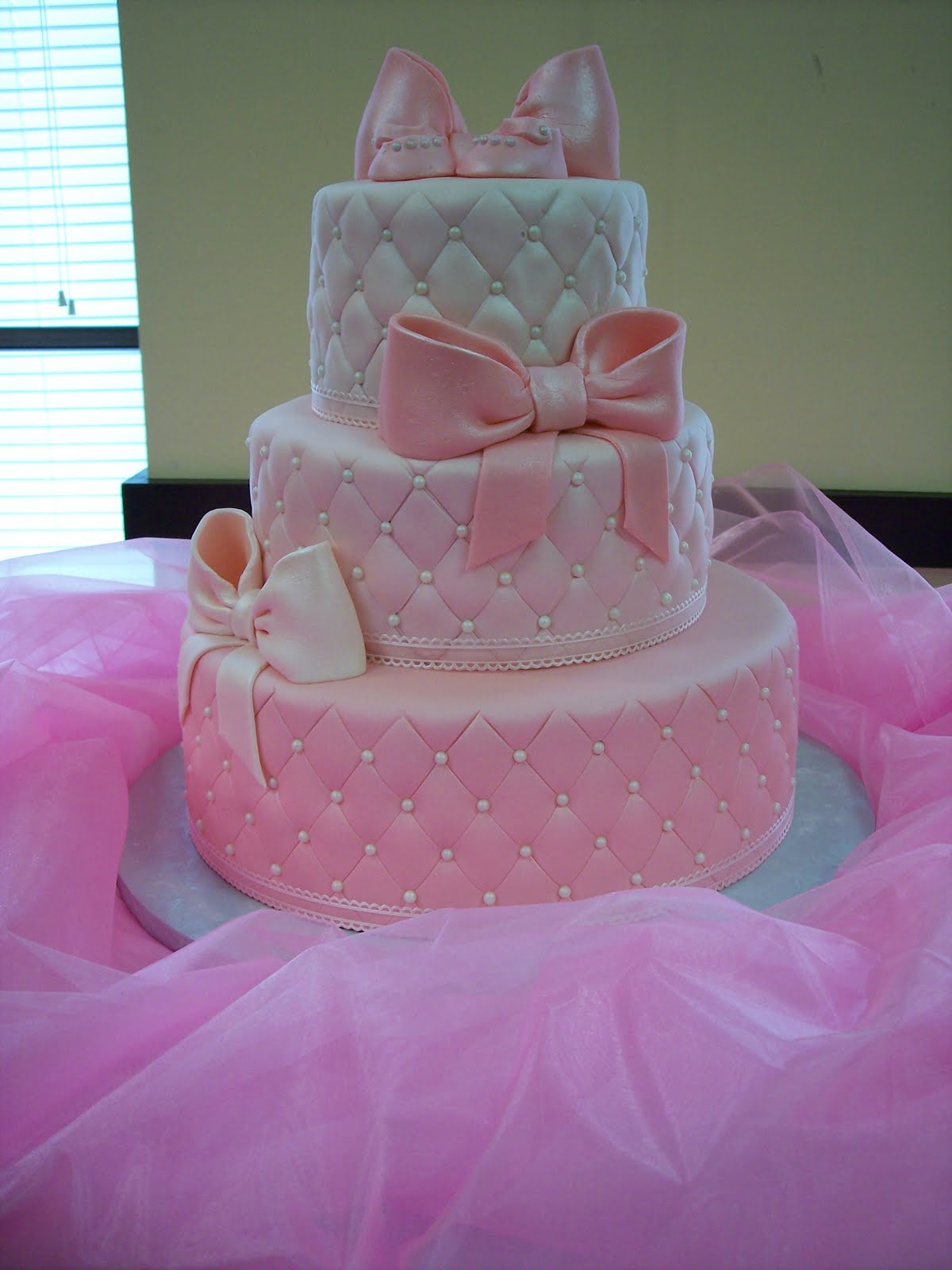 mymonicakes pearls bows pink quilted baby shower cake