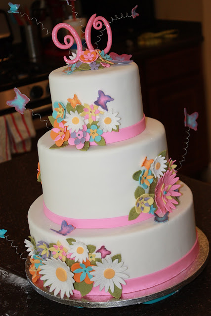 Cake Decorating Ideas For A 90 Year Old : The Good Apple: Flowers and Butterflies 90th Birthday Cake