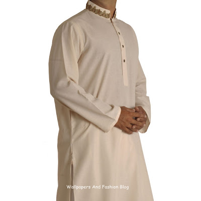 Junaid Jamshed Latest off-white Kurta Salwar (Salwar Kameez)  Designs for Men 2012