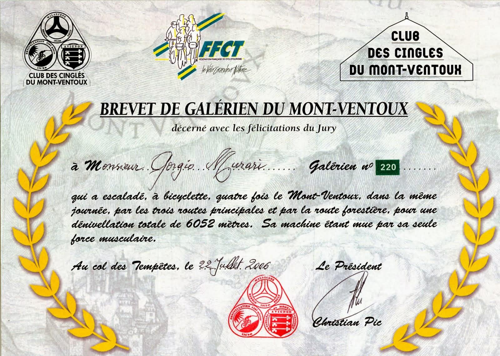 Brevetto Galèriens Mont Ventoux 22/7/2006