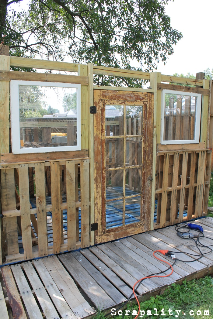 Project Pallet Shed A Couple Of Windows And A Door