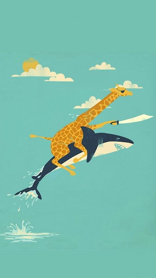 Funny Giraffe and Shark Illustration   Galaxy Note HD Wallpaper