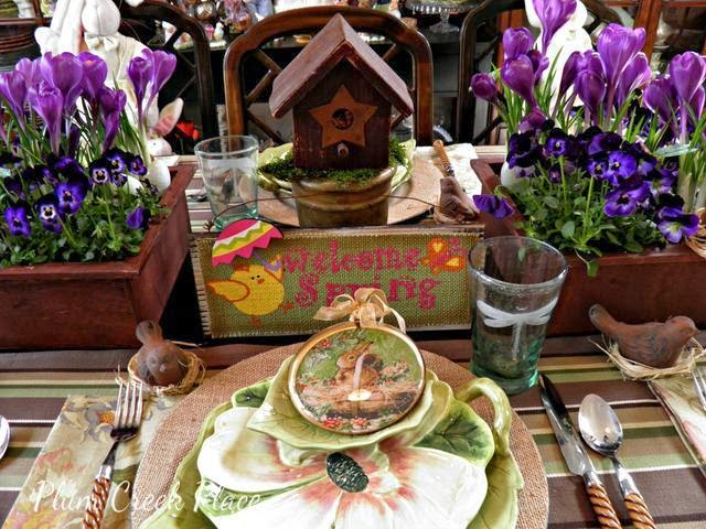 Spring Tablescape, burlap, birds, dragonflies.