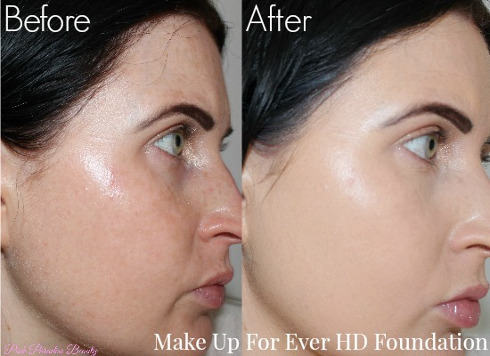 makeup forever hd foundation before and after. i wore these foundations for over ten hours, without using a primer, concealer, blush or powder to set, so you could get true perspective on how both makeup forever hd foundation before and after