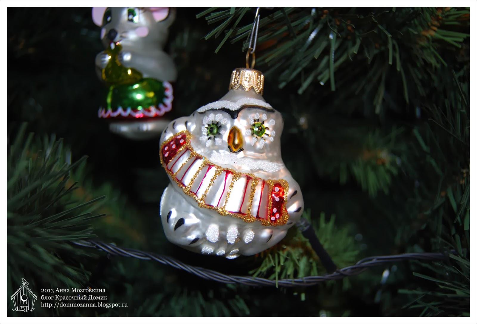 стеклянная новогодняя игрушка сова