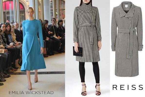 Catherine, Duchess Of Cambridge's EMILIA WICKSTEAD Dress and REISS Rubik Wrap Coat