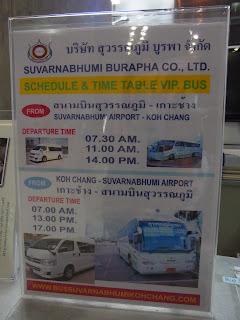 Bangkok airport to Ko Chang bus schedule
