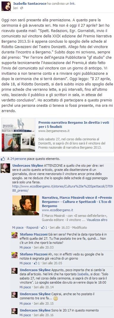 Premio narrativa Bergamo 2013