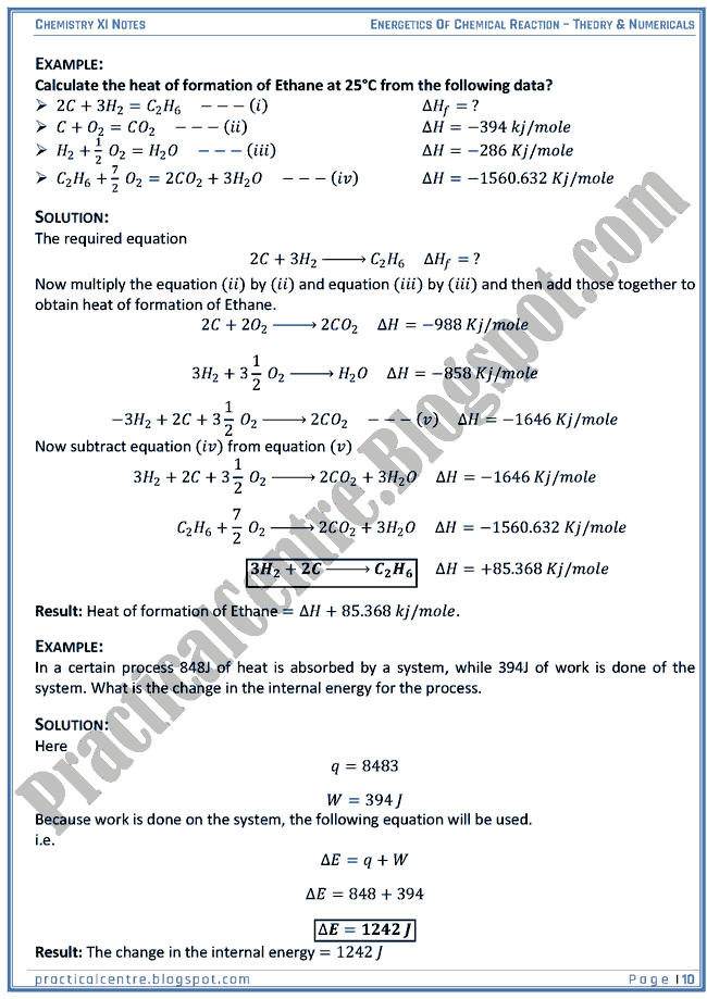 Energetics Of Chemical Reaction - Theory And Numericals (Examples And Problems) - Chemistry XI