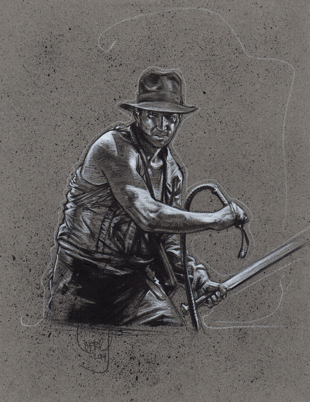 Indiana Jones Drawing, Artwork is Copyright © 2014 Jeff Lafferty