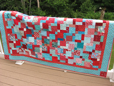 Red and Aqua Quilt ~ Finished At Last!