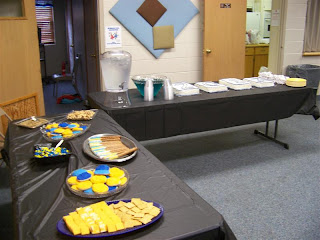 blue and gold reception snacks