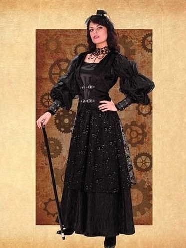Vintage Black Aristocratic Steampunk Dress
