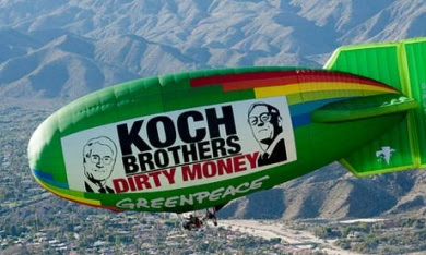 Greenpeace blimp protests Koch-funded rally
