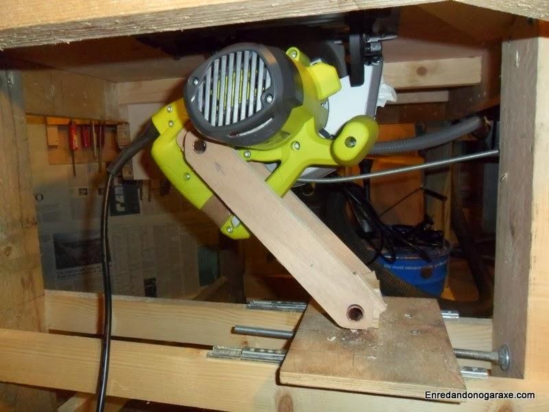 Sistema de elevación de la hoja de la sierra de mesa casera, enredandonogaraxe.com
