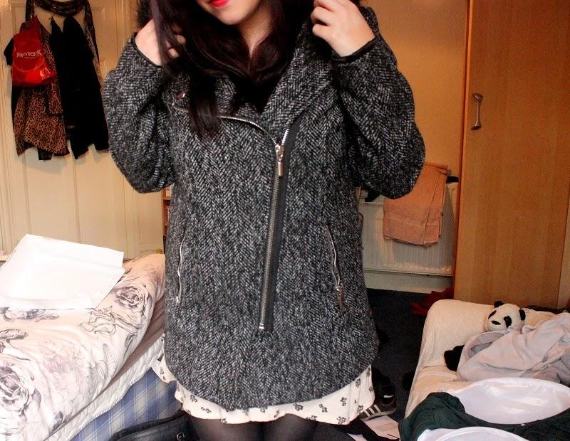 UK Lifestyle Fashion Blog - New Look Black Faux Fur Trim Hooded Biker Coat