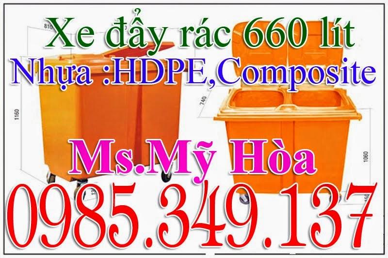 Xe đẩy rác 660 lít composite, HDPE