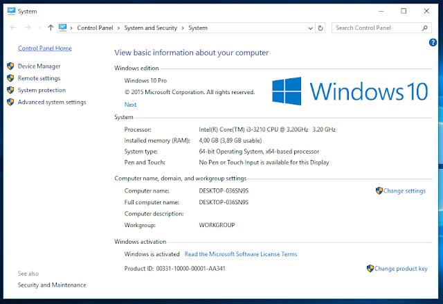 serial number windows 10 enterprise