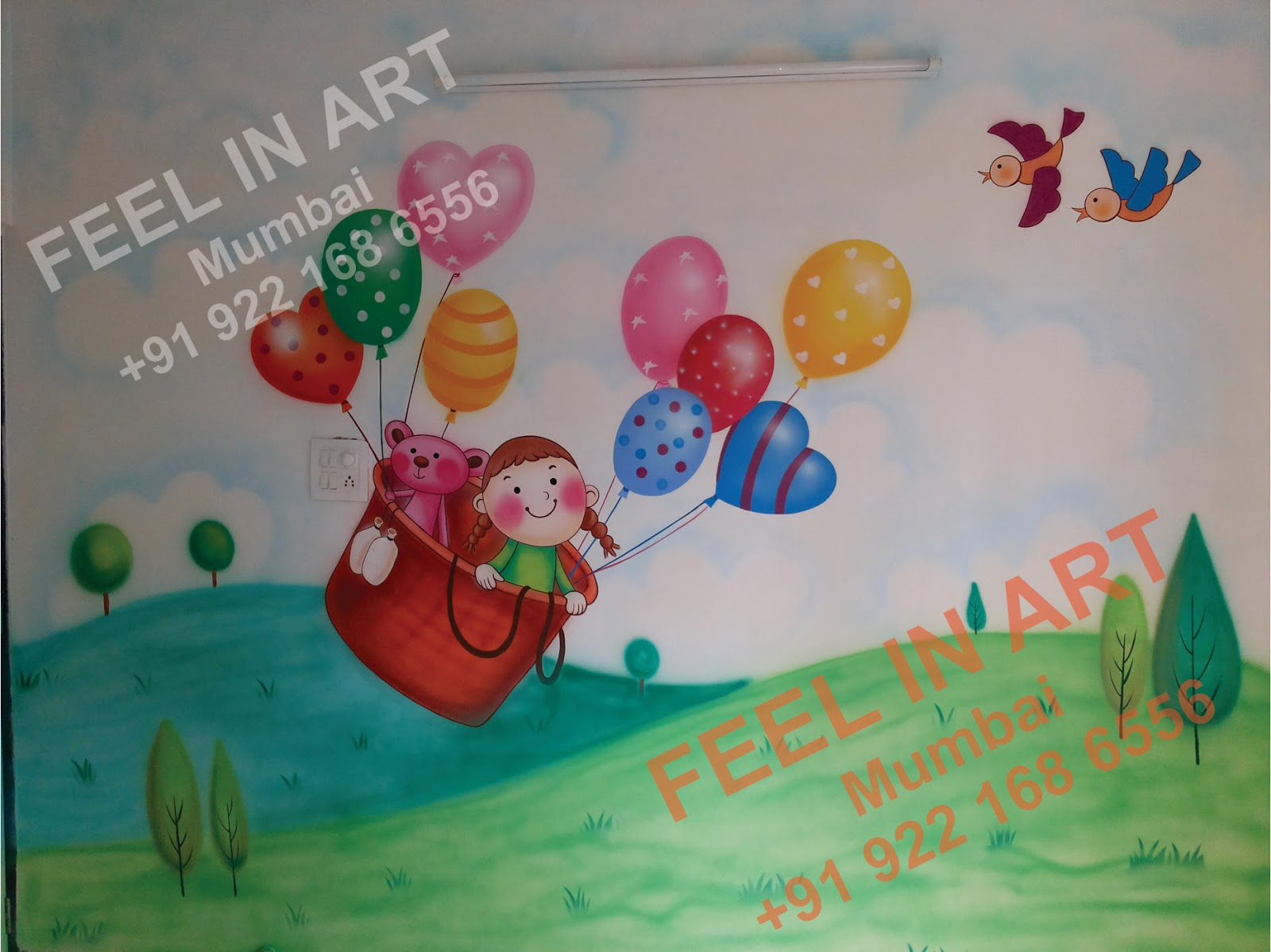 Play school wall painting for Classroom wall mural ideas