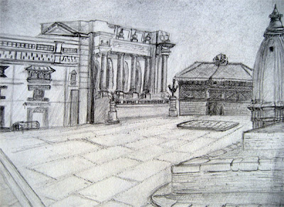 Kathmandu Durbar Square Sketch